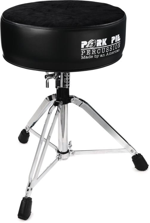 pork pie percussion round drum throne black with black crushed velvet top sweetwater. Black Bedroom Furniture Sets. Home Design Ideas