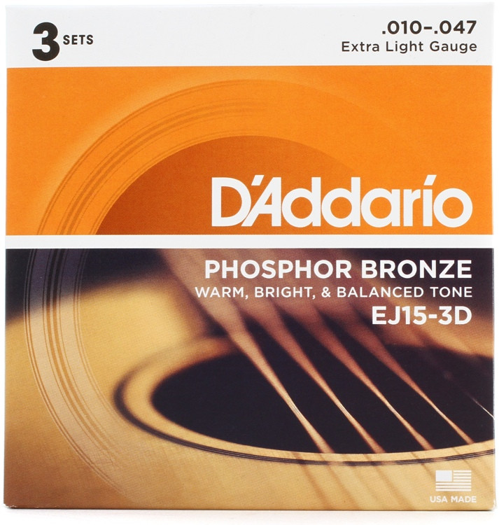 D\'Addario EJ15 Phosphor Bronze Extra Light Acoustic Strings 3-Pack image 1