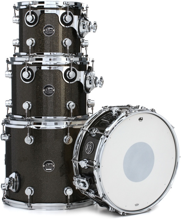 DW Performance Series 4-Piece Tom/Snare Pack - Pewter Sparkle Finish Ply image 1