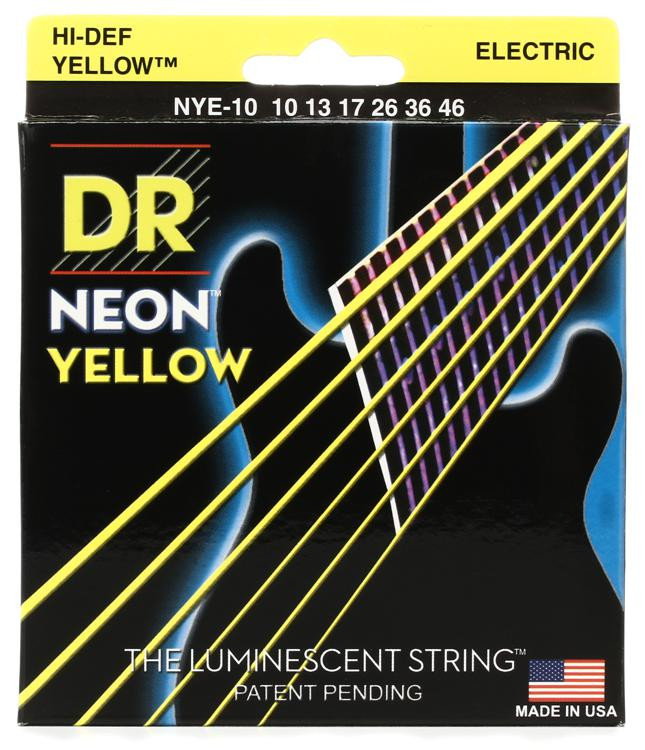 DR Strings NYE-10 Neon Hi-Def Yellow K3 Coated Medium Electric Guitar Strings image 1
