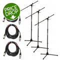 On-Stage Stands MS7701B Tripod Microphone Stand Package - 3 Stands + 3 Cables, Black