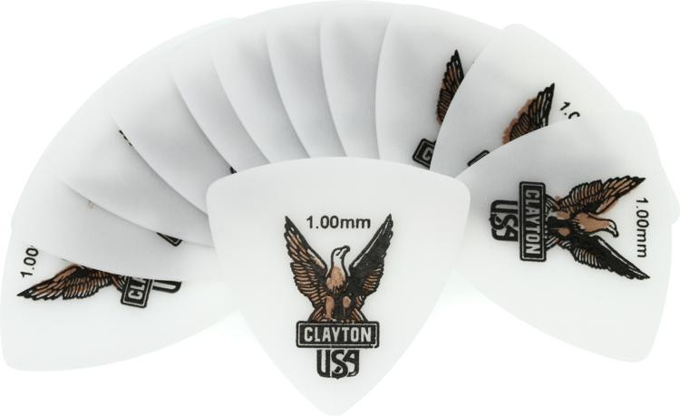 Clayton Acetal Rounded Triangle Picks 12-pack 1.00mm image 1