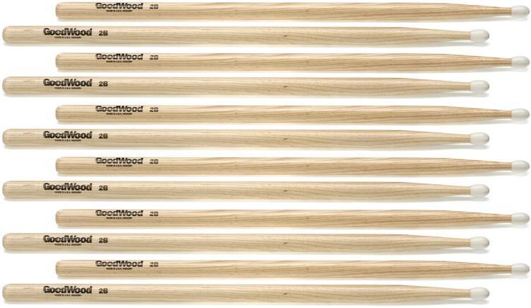 Goodwood US Hickory Drumsticks - 6 Pair - 2B - Nylon Tip image 1