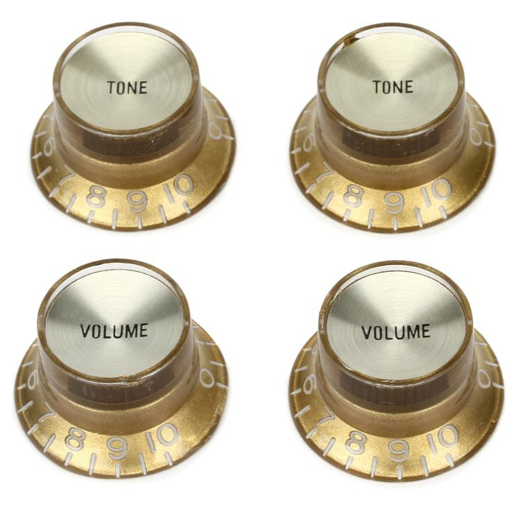 Gibson Accessories Top Hat Style Knobs w/Metal Insert - Gold w/Gold image 1