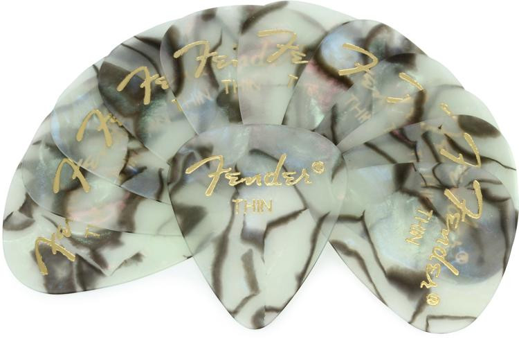 Fender 351 Shape Premium Celluloid Picks - Thin Abalone - 12-Pack image 1