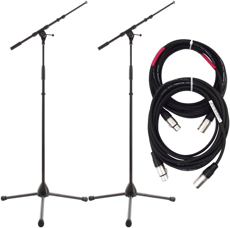 K&M 2 KM21090 and 2 ProCo 20\' Mic Cables Package - Black image 1
