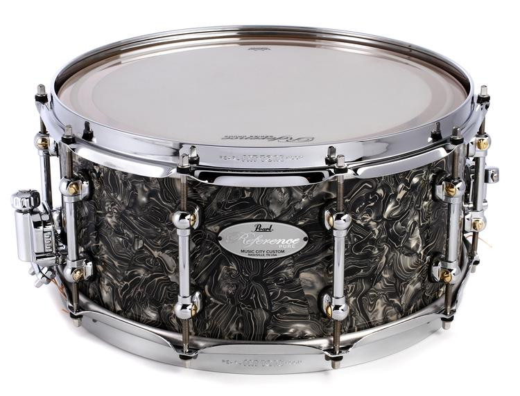pearl reference pure snare drum 14 x 6 5 pewter abalone sweetwater. Black Bedroom Furniture Sets. Home Design Ideas