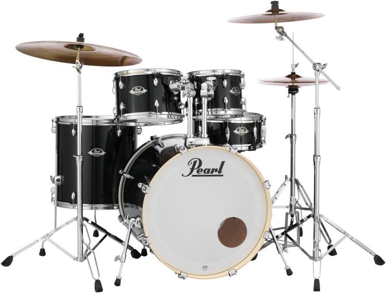 Pearl Export EXX 5-piece Drum Set with Hardware - Fusion Configuration- Jet Black image 1