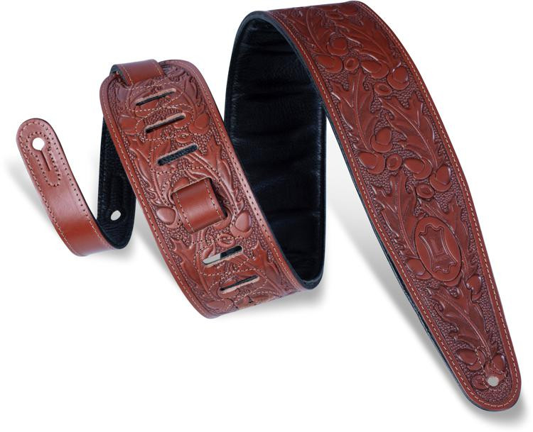 levy 39 s pm44t01 leather guitar strap walnut sweetwater. Black Bedroom Furniture Sets. Home Design Ideas
