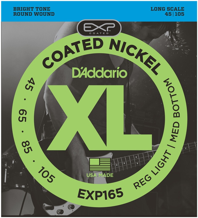 D\'Addario EXP165 Coated Round Wound Long Scale Light Top/Medium Bottom Bass Strings image 1