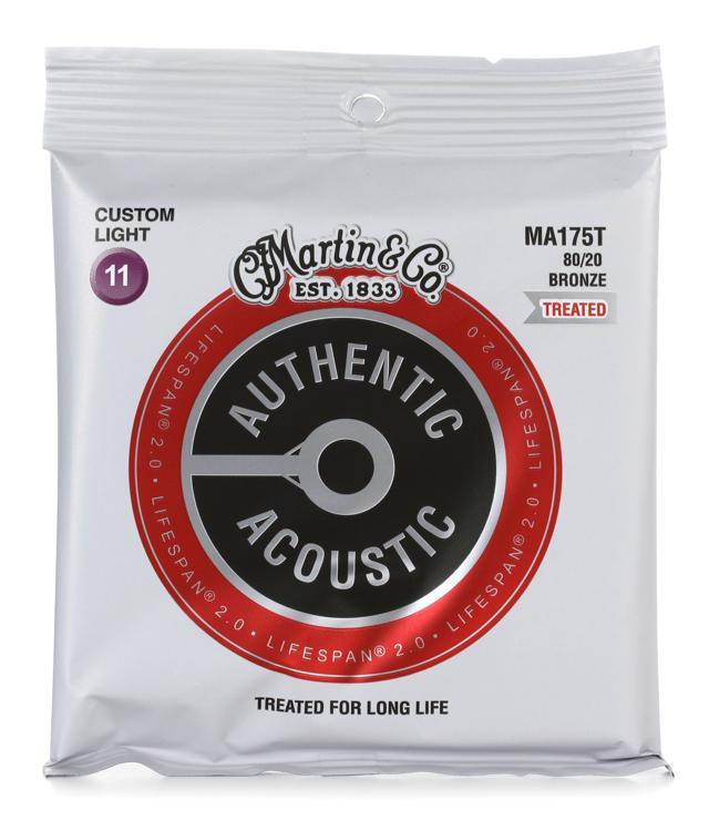 martin authentic acoustic lifespan 2 0 treated guitar strings 80 20 bronze custom light. Black Bedroom Furniture Sets. Home Design Ideas