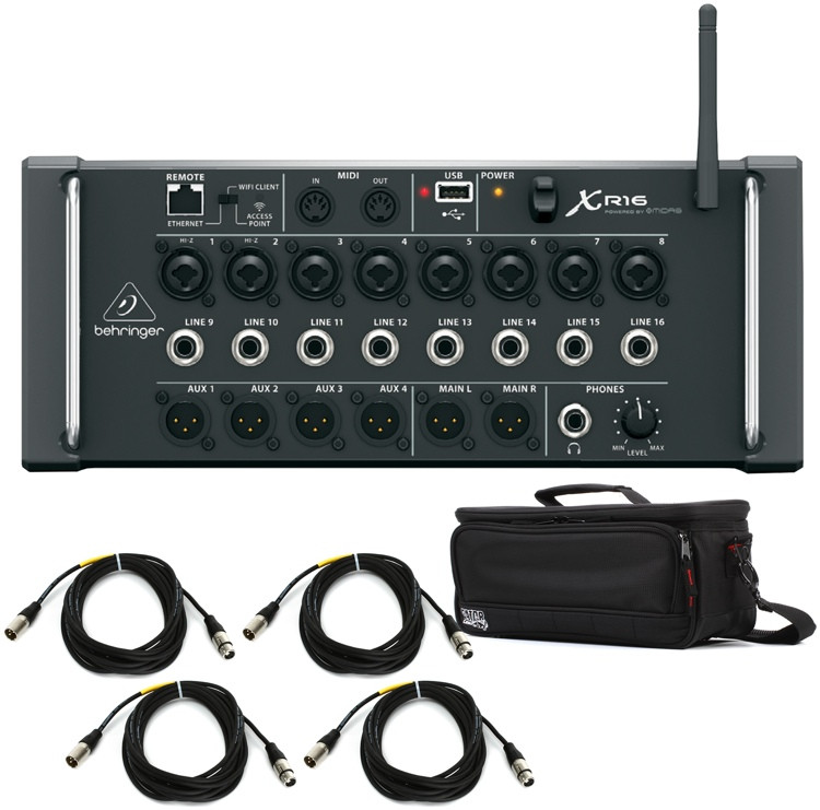 Behringer X Air XR16 Digital Mixer with Case and Cables image 1