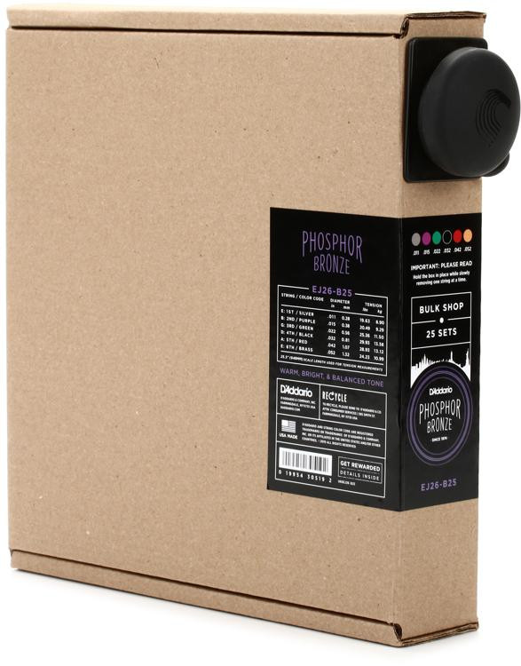 d 39 addario ej26 b25 phosphor bronze custom light acoustic strings 25 pack sweetwater. Black Bedroom Furniture Sets. Home Design Ideas