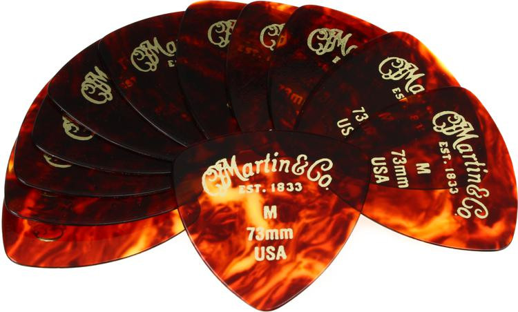 Martin Faux Tortoise 346 #2 Guitar Picks 12-Pack - .73mm Medium image 1