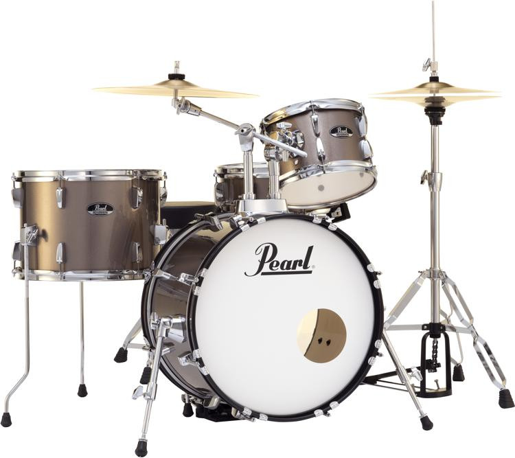 Pearl Roadshow 4-piece Complete Drum Set with Cymbals - Bronze Metallic image 1