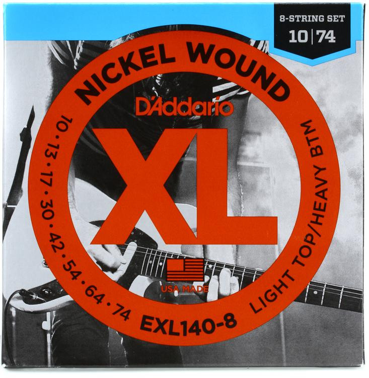 D\'Addario EXL140-8 Nickel-wound Electric Guitar Strings - Light Top/Heavy Bottom 8-string image 1