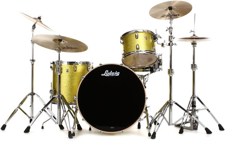 Ludwig Keystone X Pro Beat Shell Pack 3-piece - Yellow Glitter image 1