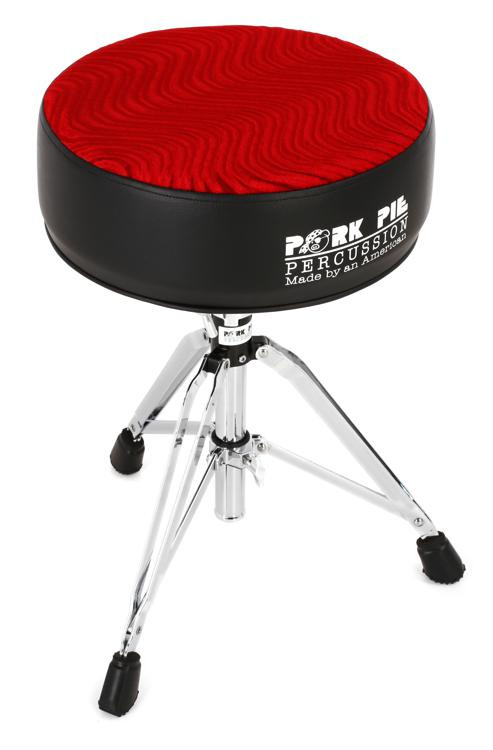 pork pie percussion round drum throne black with red swirl sweetwater. Black Bedroom Furniture Sets. Home Design Ideas