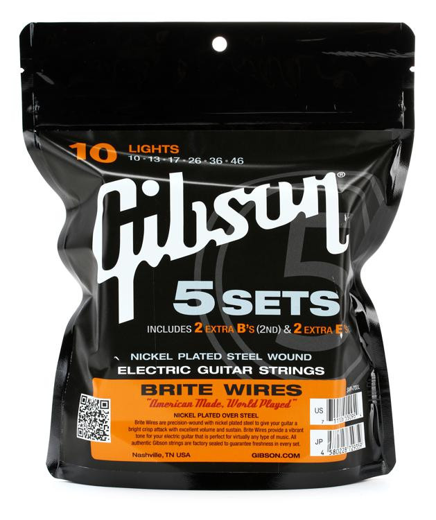 Gibson Accessories 700L Brite Wires Electric Strings - .010-.046 - Light - 5-pk image 1