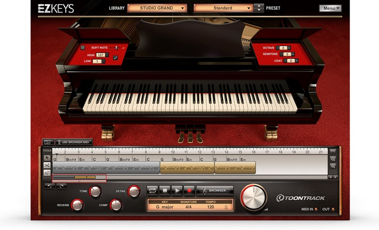 EZkeys Studio Grand Songwriting Software and Virtual Grand Piano (download)
