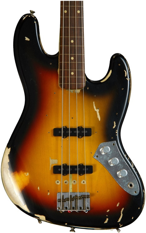 Fender Custom Shop Jaco Pastorius Fretless Jazz Bass Relic - 3-Color Sunburst image 1