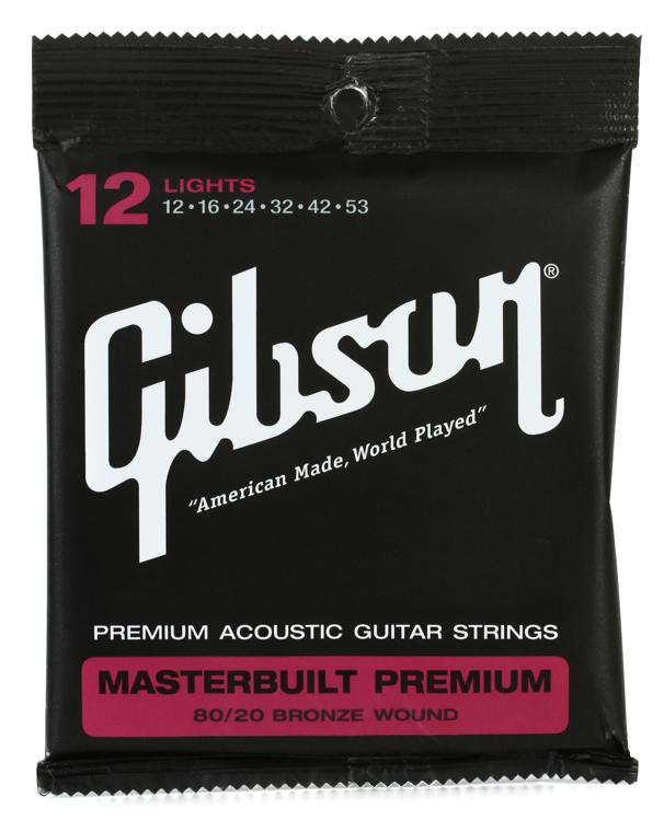 Gibson Accessories SAG-BRS12 Masterbuilt Premium 80/20 Bronze Light Acoustic Guitar Strings image 1