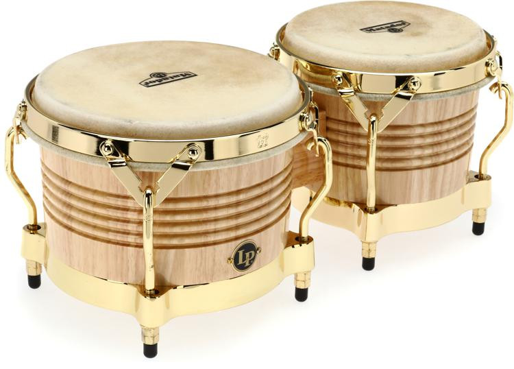 Latin Percussion Matador SIam Oak Bongos - Natural with Gold Tone image 1