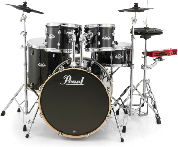 Pearl E-Pro Powered by Export Lacquer 5 Piece Electronic Drum Set Fusion - Black Smoke image 1