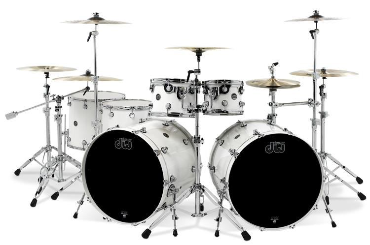 DW Performance Series 6-piece Double Bass Shell Pack - White Ice Lacquer image 1