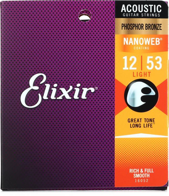 Elixir Strings Nanoweb Phosphor Bronze Acoustic Guitar Strings .012-.053 Light image 1
