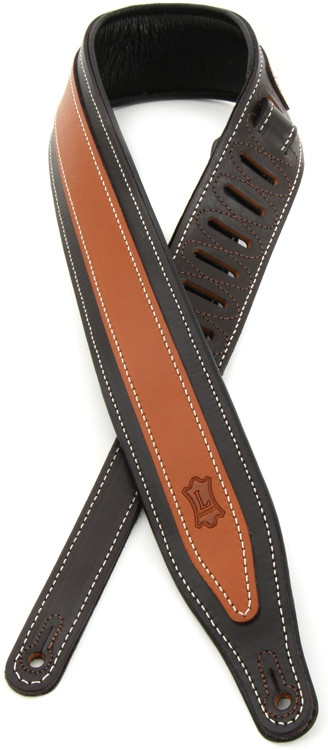 Levy\'s MV17 Two-Tone Veg Tan Leather Strap with Cable Stitching - Dark Brown/Tan image 1