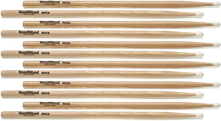 Goodwood US Hickory Drumsticks - 6 Pair - Rock - Nylon Tip image 1