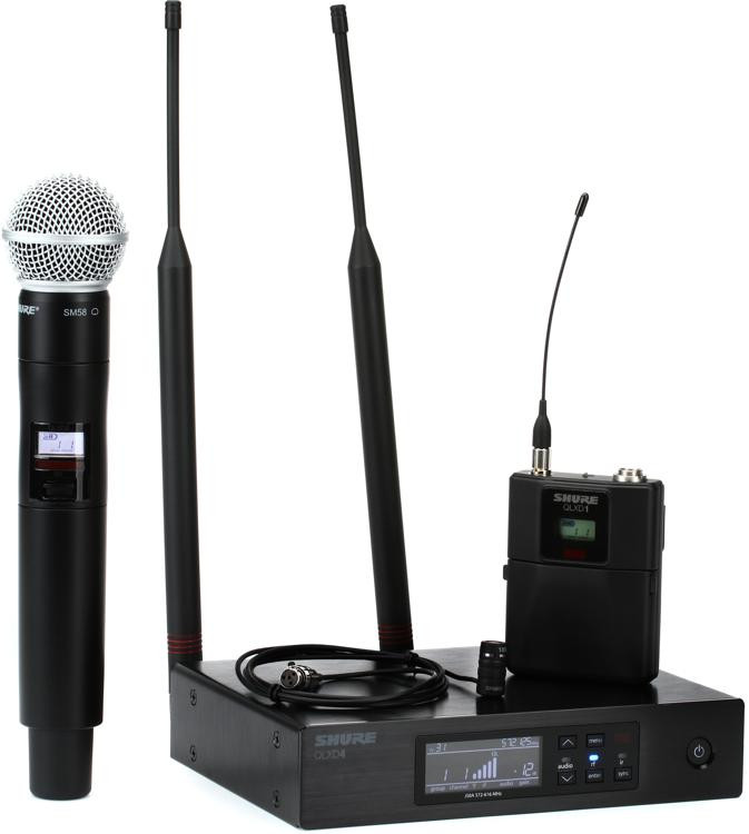 shure qlxd124 85 combo wireless handheld and lavalier microphone system j50a band sweetwater. Black Bedroom Furniture Sets. Home Design Ideas