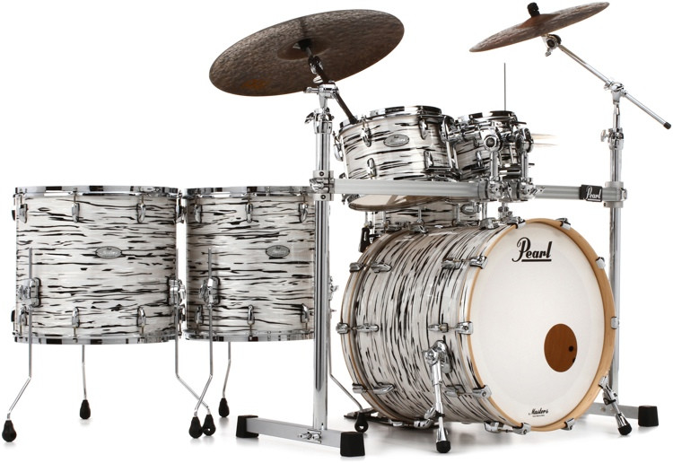 Pearl Music City Custom Masters Reserve Shell Pack - 6 Piece - Black & White Oyster image 1