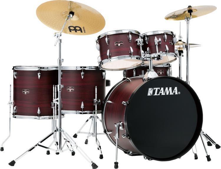 tama imperialstar complete drum set 6 piece burgundy walnut wrap sweetwater. Black Bedroom Furniture Sets. Home Design Ideas