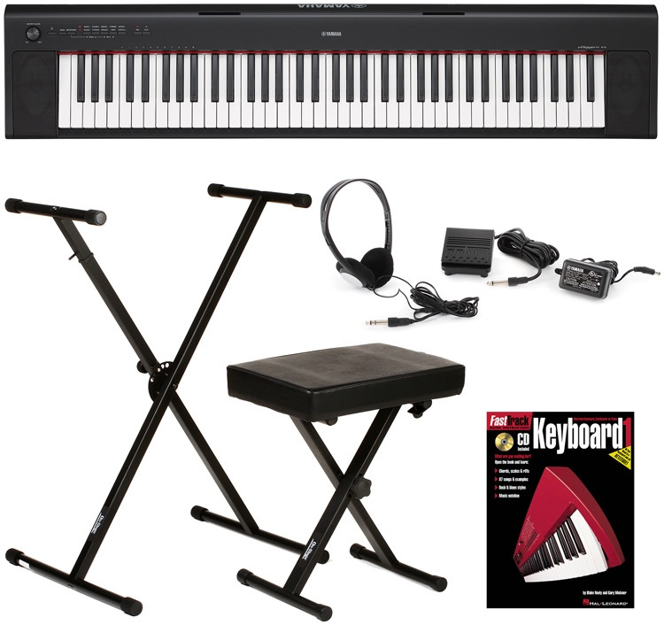 yamaha piaggero np 32 essential keyboard bundle black. Black Bedroom Furniture Sets. Home Design Ideas