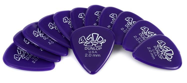 Dunlop 41P2.0 Delrin 500 2.0mm Purple Guitar Picks 12-Pack image 1