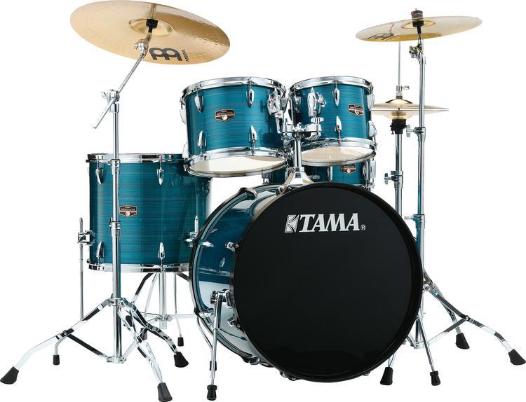 tama imperialstar complete drum set 5 piece 22 kick hairline blue sweetwater. Black Bedroom Furniture Sets. Home Design Ideas