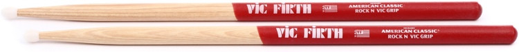 Vic Firth American Classic Drumsticks With Vic Grip - Rock - Nylon Tip image 1
