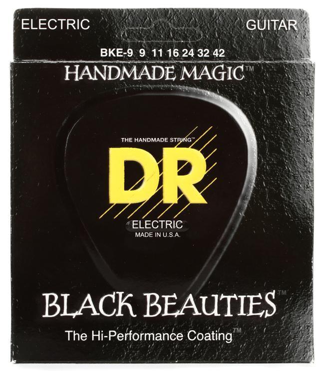 DR Strings BKE-9 Black Beauties K3 Coated Lite Electric Guitar Strings image 1