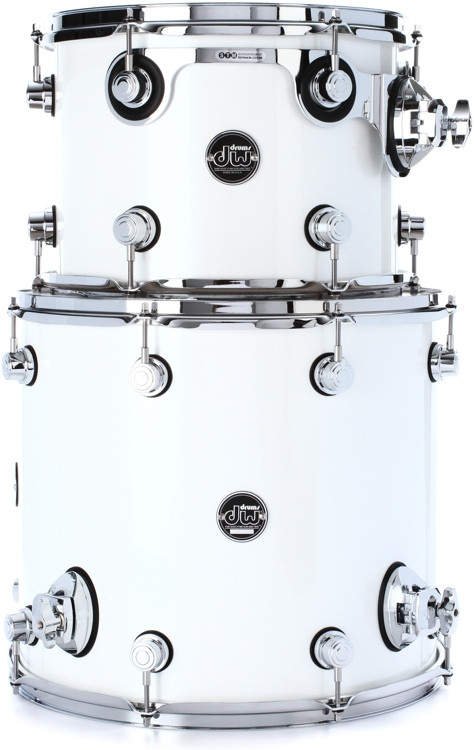 DW Performance Series 2 Piece Bop Tom Pack - White Ice Lacquer image 1
