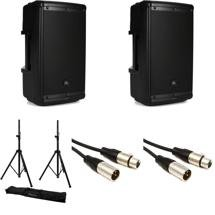 JBL EON610 Speaker Pair with Stands and Cables