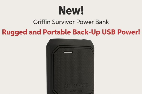 New! Griffin Survivor Power Bank Rugged and Portable Back-Up USB Power!