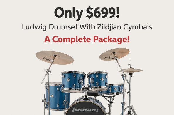 Only $699! Ludwig Drumset With Zildjian Cymbals A Complete Package!