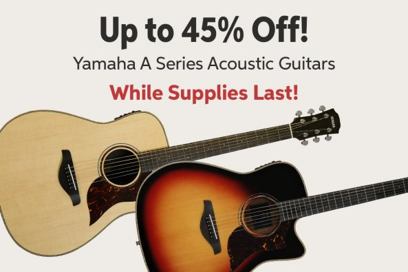 Up to 45iMw Off! Yamaha A Series Acoustic Guitars While Supplies Last!