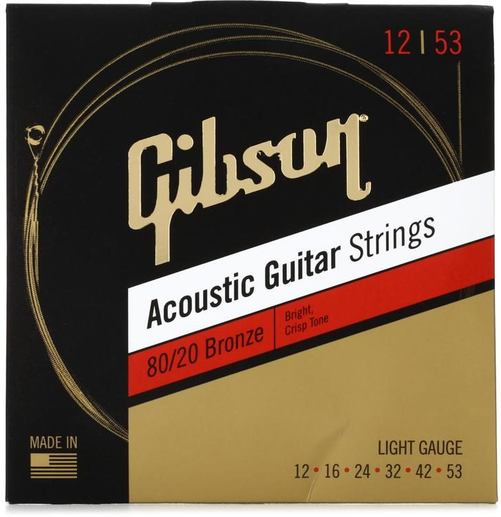 Gibson Accessories Sag Brw12 80 20 Bronze Acoustic Guitar Strings 012 053 Light Sweetwater