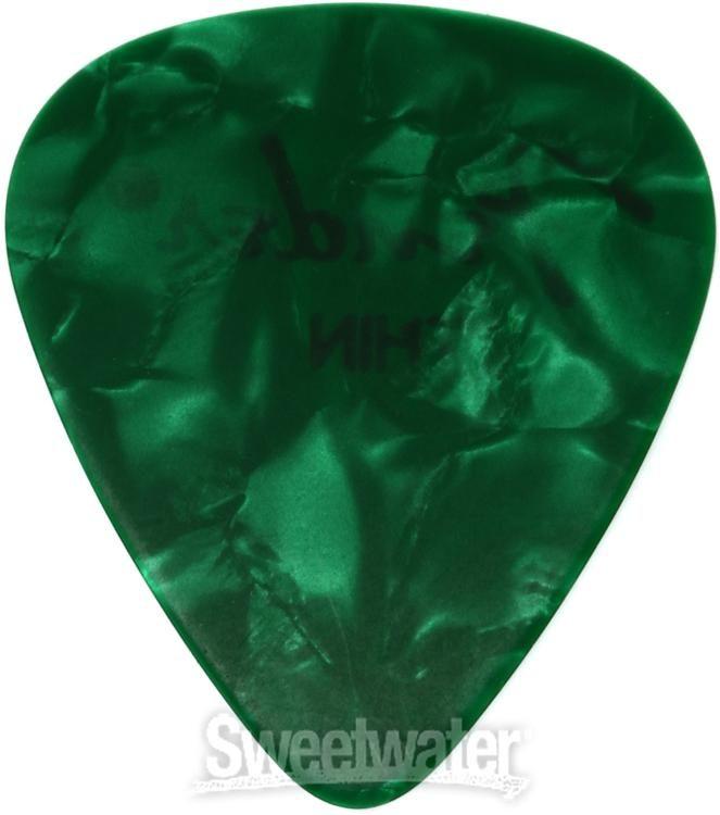 Fender Thin Green Moto Celluloid 351 Guitar Picks 12 098-0351-771