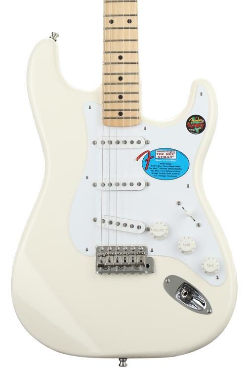 Fender Jimmie Vaughan Tex Mex Stratocaster Olympic White W Maple Fingerboard Image 1