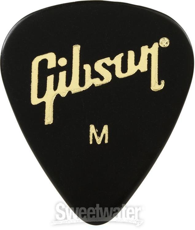 Gibson White Pearl Guitar Picks  Rounded  Shape 12 Pack Genuine Medium