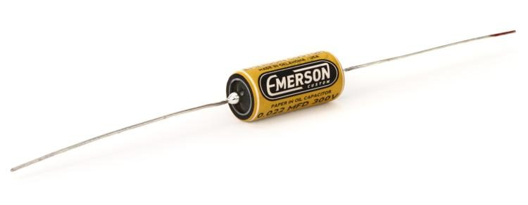 emerson custom paper in oil tone capacitor 0 022uf yellow and